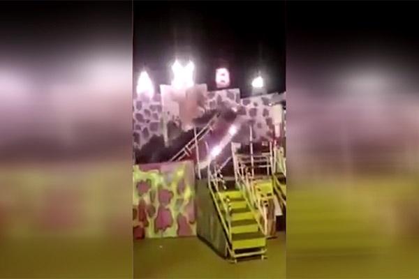 فیلم | لحظه سقوط چرخ و فلکی که ۱۳ کودک را مجروح کرد