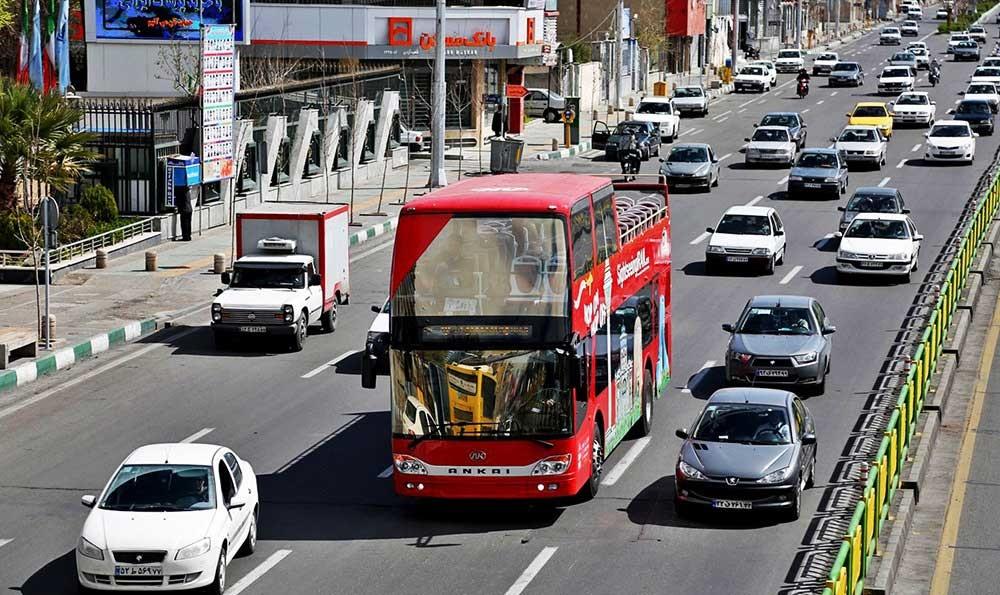 هوای تهران ایام نوروز ۹۶ الف - تصاویر دور تهران با اتوبوس جدید گردشگری