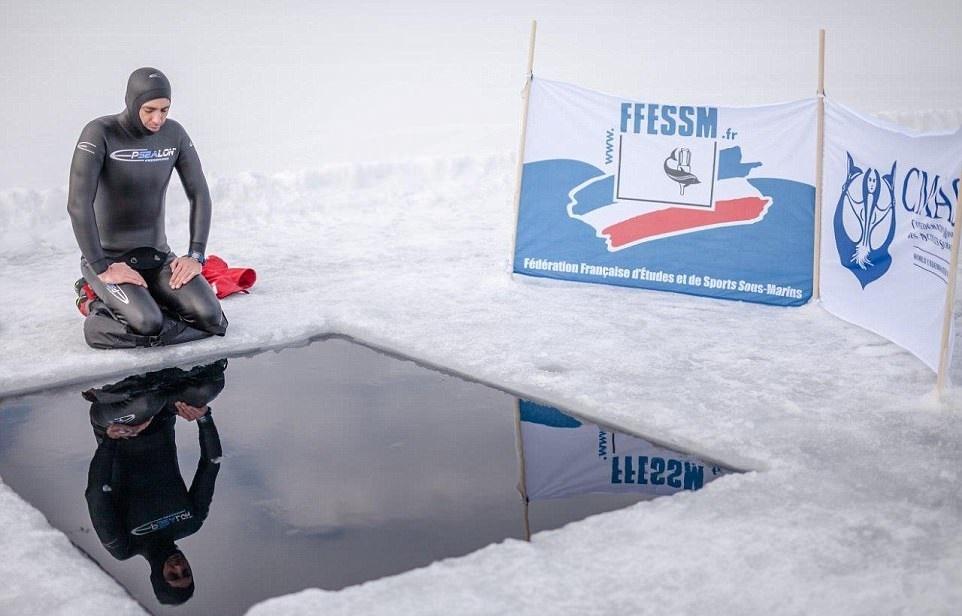 تصاویر | رکوردشکنی شناگر فنلادی با غواصی آزاد زیر رودخانه یخی