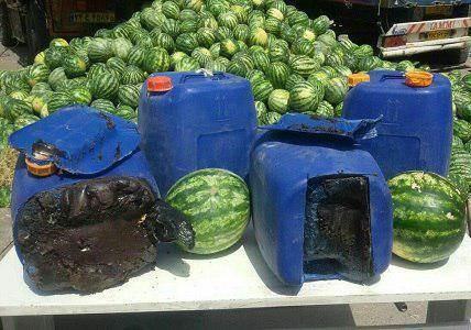 عکس   جاسازی تریاک در کامیون هندوانه!