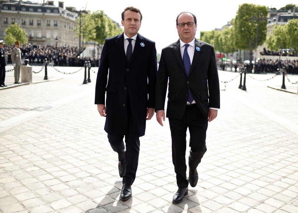 عکس | قدم زدن رئیسجمهور قدیم و جدید فرانسه در کنار هم