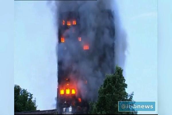فیلم | وضعیت برج مسکونی لندن ۷ساعت بعد از شروع آتشسوزی