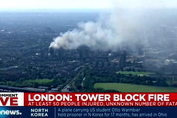 فیلم | تصاویر هوایی از آتشسوزی برج گرانفل لندن
