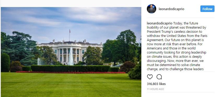 تصاویر | واکنشها به تصمیم ترامپ برای خروج از توافق پاریس | از دیکاپریو تا نشریات جهان