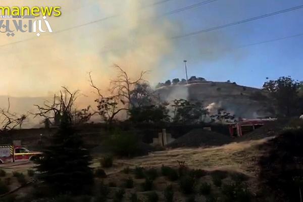 فیلم | وضعیت اطراف محل آتش سوزی مجموعه دشت بهشت اوین