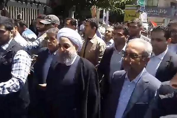 فیلم | حضور روحانی در مراسم راهپیمایی روز قدس