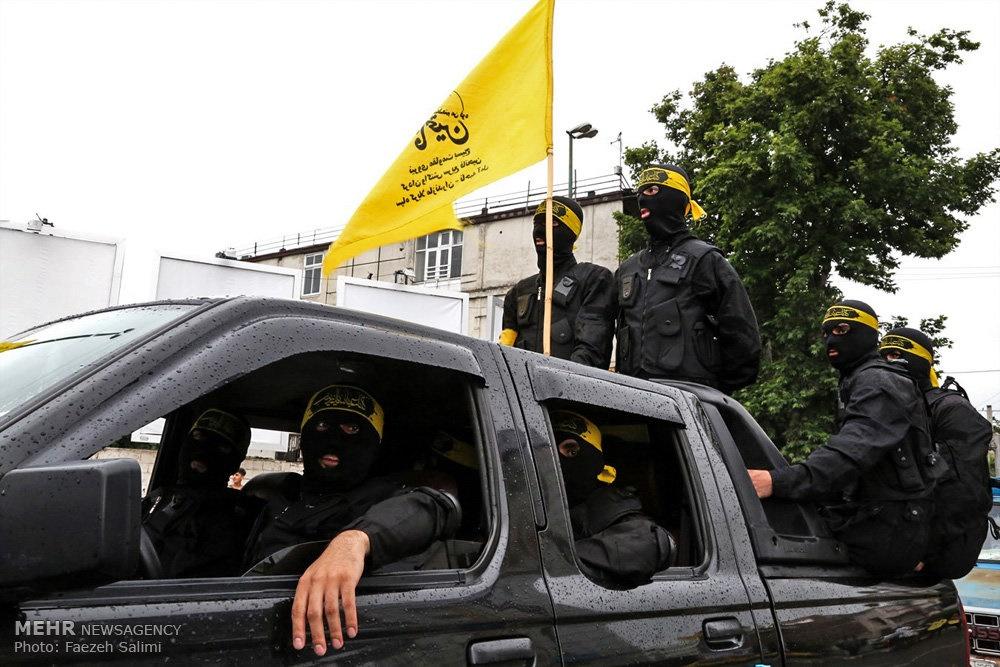 عکس | چهره متفاوت  نیروهای بسیج در راهپیمایی روز قدس