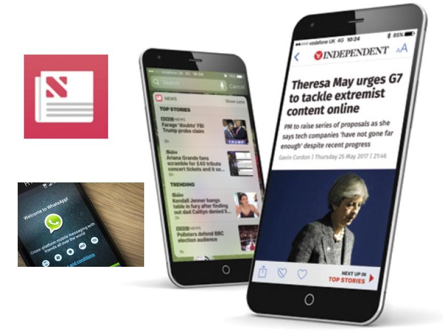 رویترز: پیامرسانهای موبایلی مانند واتساَپ در برخی کشورها منبع اصلی دریافت خبر شده است