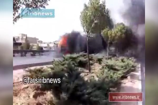 فیلم   واژگونی و آتش گرفتن  پژو ۲۰۶ در شیراز