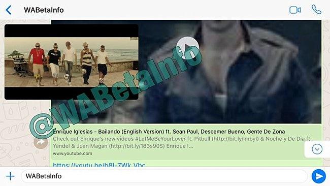 اجراشدن خودکار ویدئوهای یوتیوب داخل چت واتساَپ