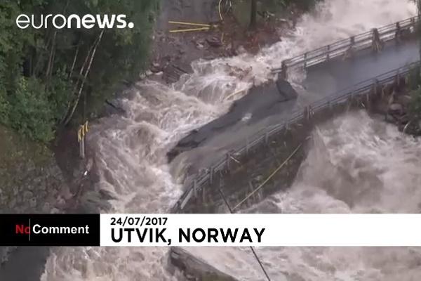 فیلم | طوفان و سیل درپی بارش ۱۲ ساعته باران در نروژ