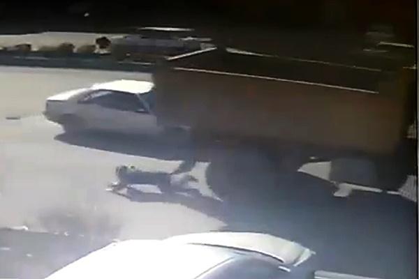 فیلم | خوششانسی دختر جوان در یک تصادف خطرناک