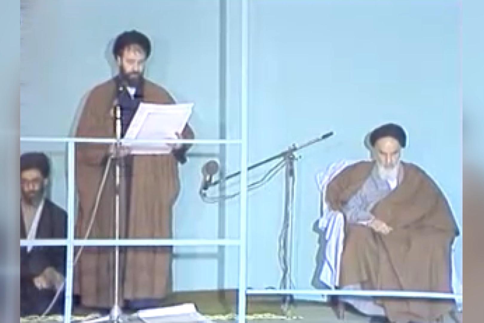 فیلم | قرائت حکم تنفیذ امام برای آیتالله خامنهای توسط حاج احمدآقا