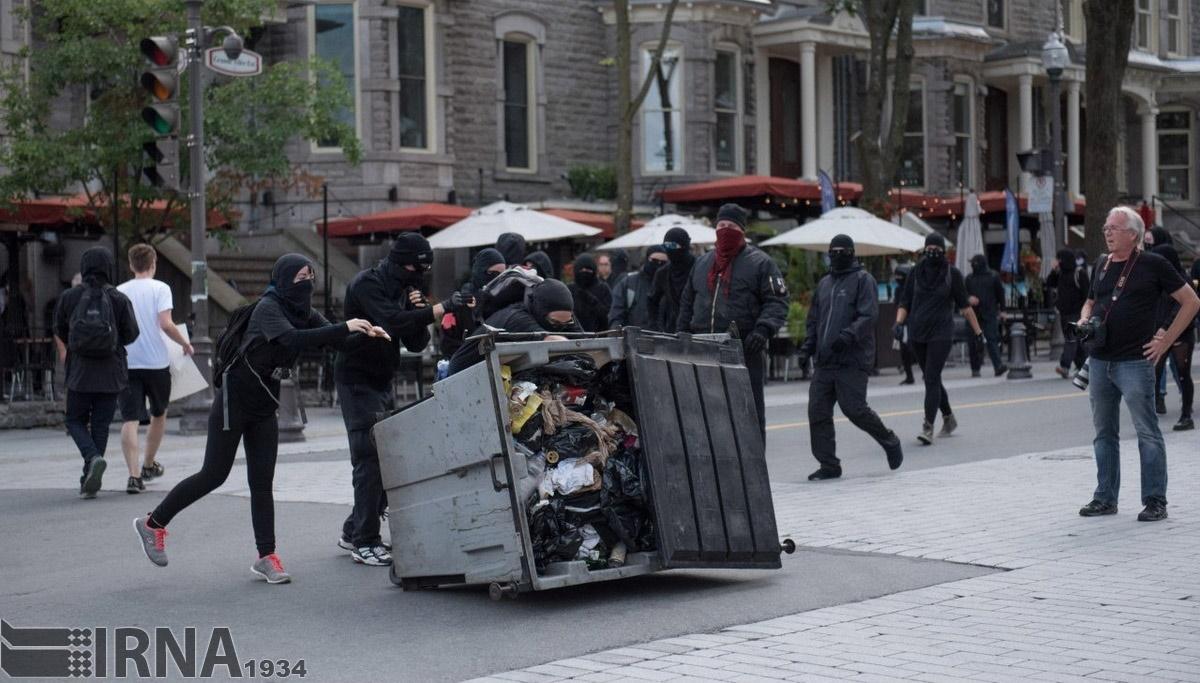 تصاویر | تظاهرات ضدنژادپرستی به کانادا رسید | درگیری حامیان مهاجرین با پلیس