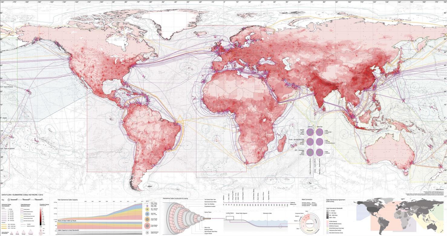 کاملترین نقشه شبکههای کابلی زیردریا در جهان ترسیم شد/ عکس