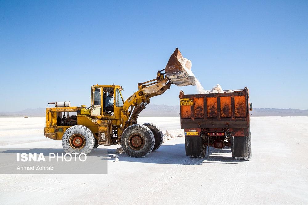 تصاویر   فصل برداشت نمک در قم