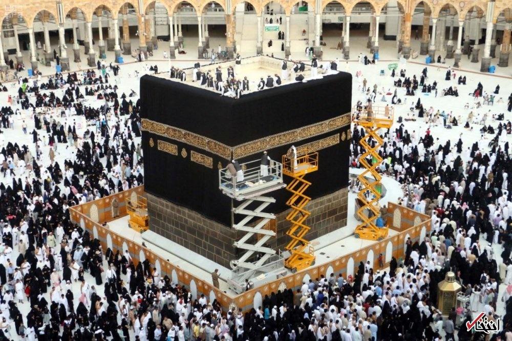 تصاویر | تعویض پرده خانه خدا در آستانه عید قربان