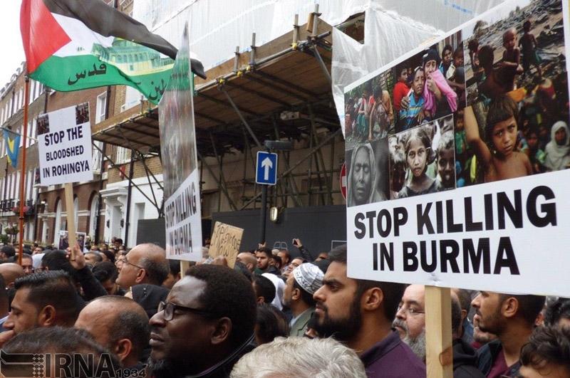 تصاویر | تظاهرات مردم لندن علیه کشتار مسلمانان در میانمار